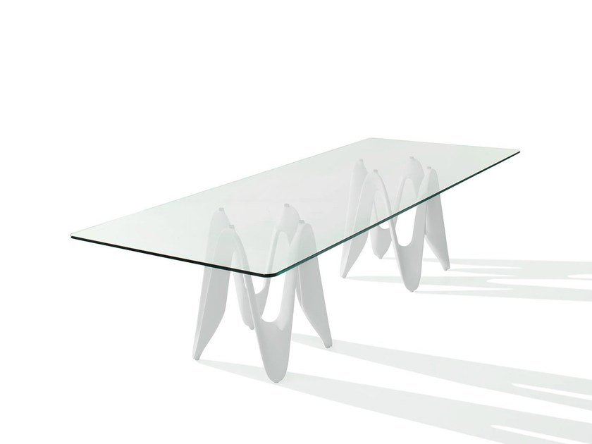 Rectangular glass table LAMBDA TWO BASES by Sovet italia