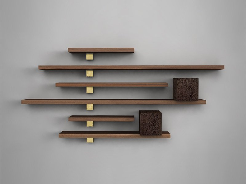 Wooden wall shelf / wall cabinet IL PEZZO 5 | Wall cabinet with shelves by Il Pezzo Mancante