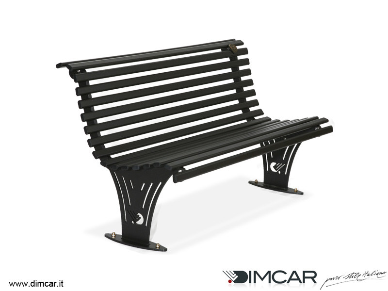 Contemporary style metal Bench with back Panchina Ariete by DIMCAR