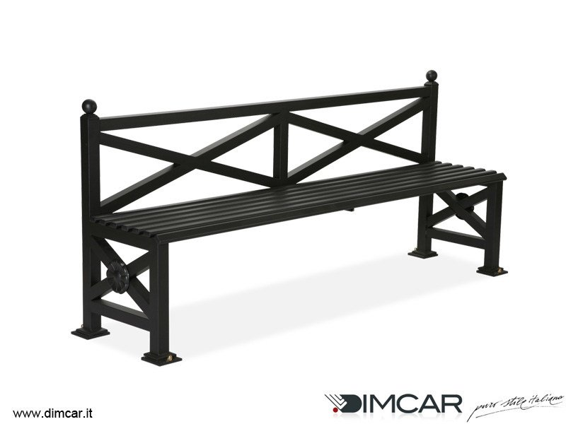 Classic style metal Bench with back Panchina Orchidea by DIMCAR