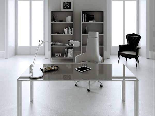 Rectangular crystal and steel executive desk MINIMAX | Executive desk by MASCAGNI