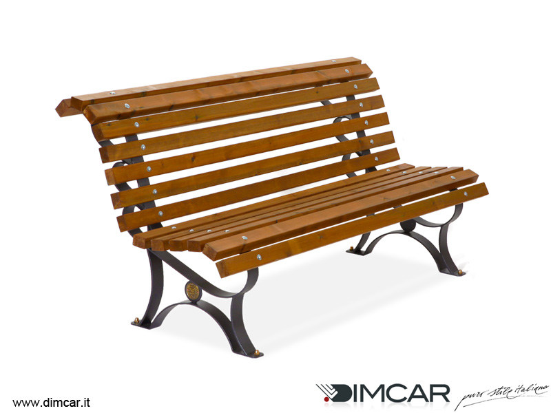 Classic style metal Bench with back Panchina Margherita con listoni in legno by DIMCAR