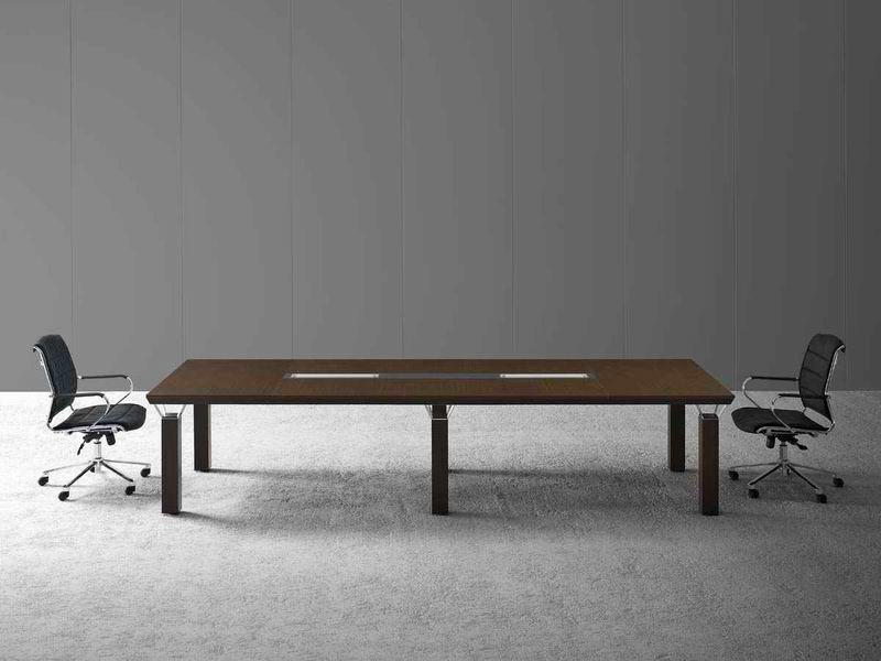 Rectangular wooden meeting table with cable management QUADRA | Meeting table by MASCAGNI