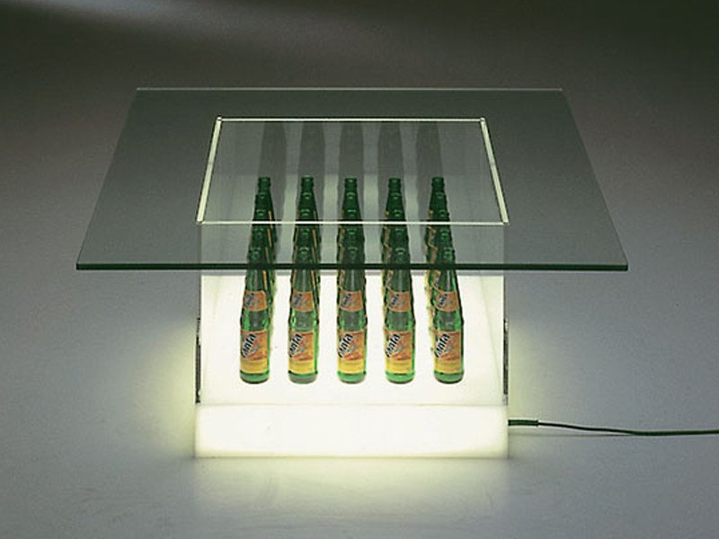 Glass coffee table with light FANTAS - TISCH by Draenert