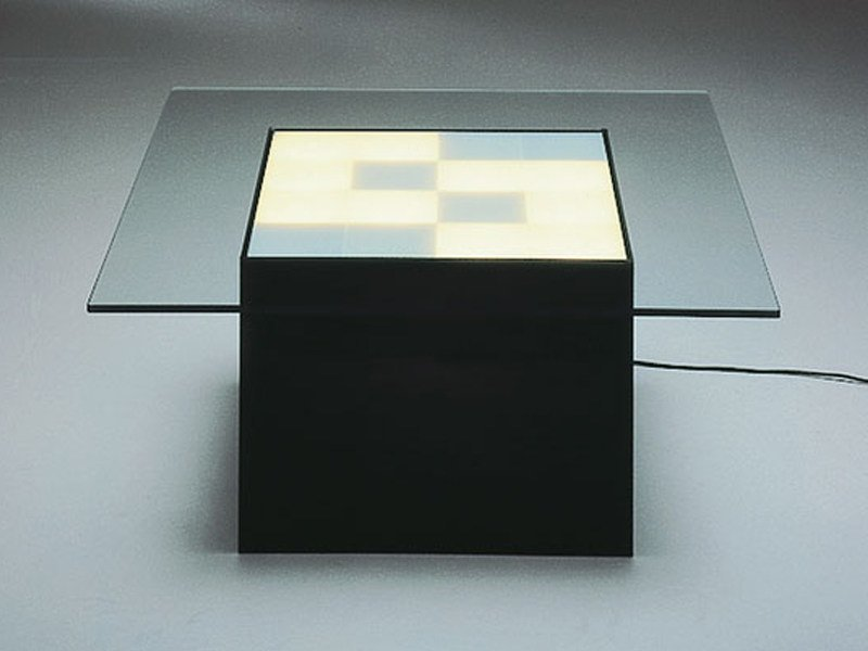 Glass coffee table with light QUADRA - TISCH by Draenert