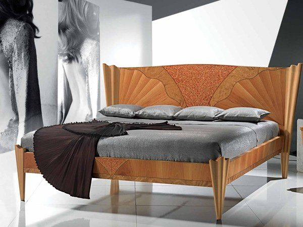 Wooden double bed FUSION by Carpanelli Contemporary