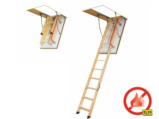 Wooden loft ladder - Fire-resistant LWF by FAKRO