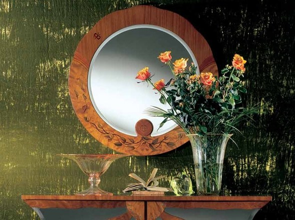 Wall-mounted framed round mirror ZEBRANO | Round mirror by Carpanelli Classic