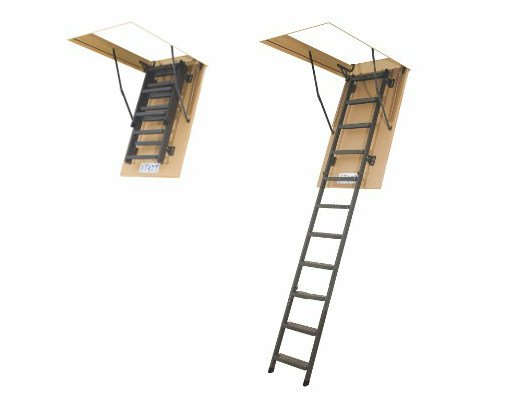 Loft ladder with folding metal section LWM by FAKRO