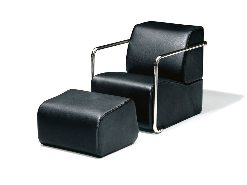 Leather armchair with footstool AK 04 by Wittmann