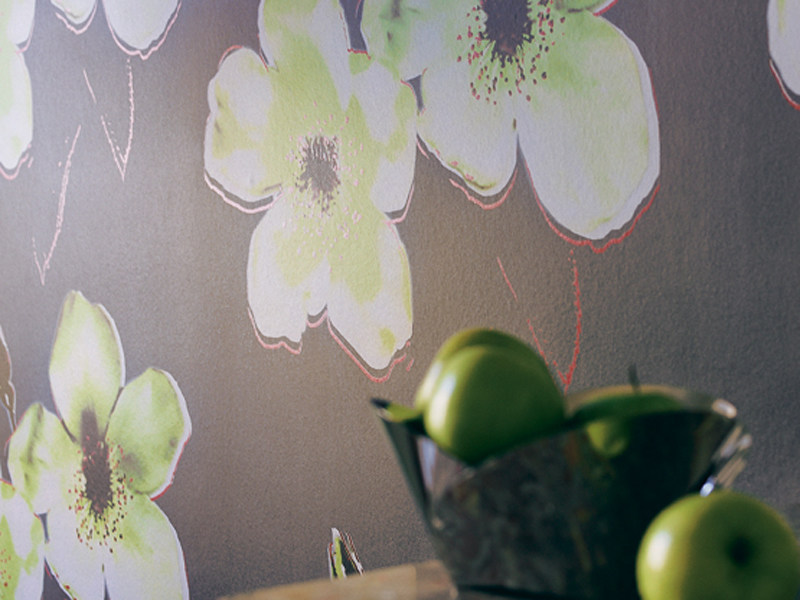Synthetic fabric wallpaper with floral pattern EXOTIC DANDY by Élitis