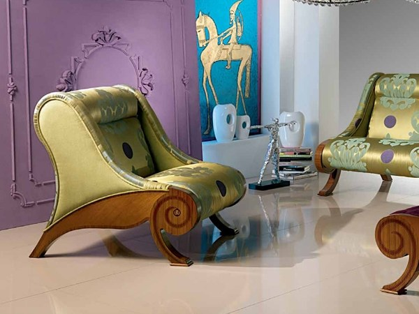 Upholstered zebrano armchair GLAMOUR | Armchair by Carpanelli Classic