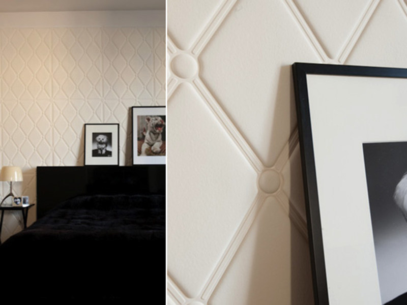 Synthetic material wall tiles with textile effect MADONE by Élitis