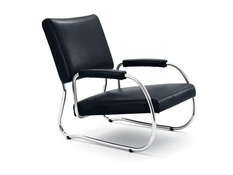 Upholstered leather armchair FREISCHWINGER NR. 2 by Wittmann