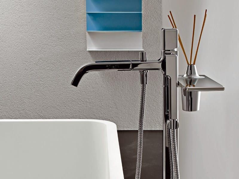 Floor standing bathtub mixer with hand shower FARAWAY   Bathtub mixer by ZUCCHETTI