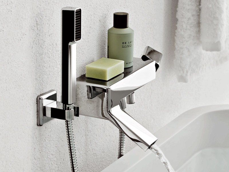 Wall-mounted bathtub mixer with hand shower FARAWAY | Wall-mounted bathtub mixer by ZUCCHETTI
