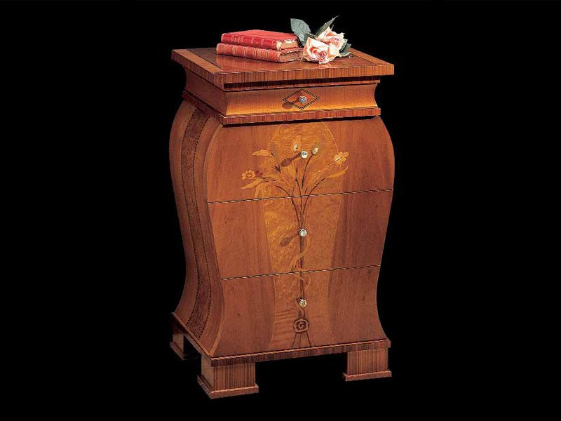 Solid wood bedside table with drawers FLOREALE | Bedside table by Carpanelli Classic