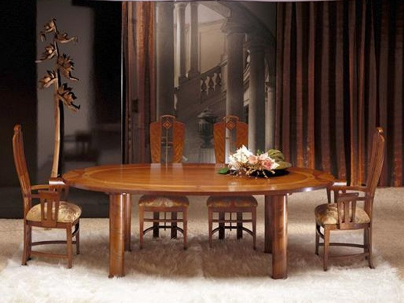 Oval walnut dining table ZEBRANO | Table by Carpanelli Classic