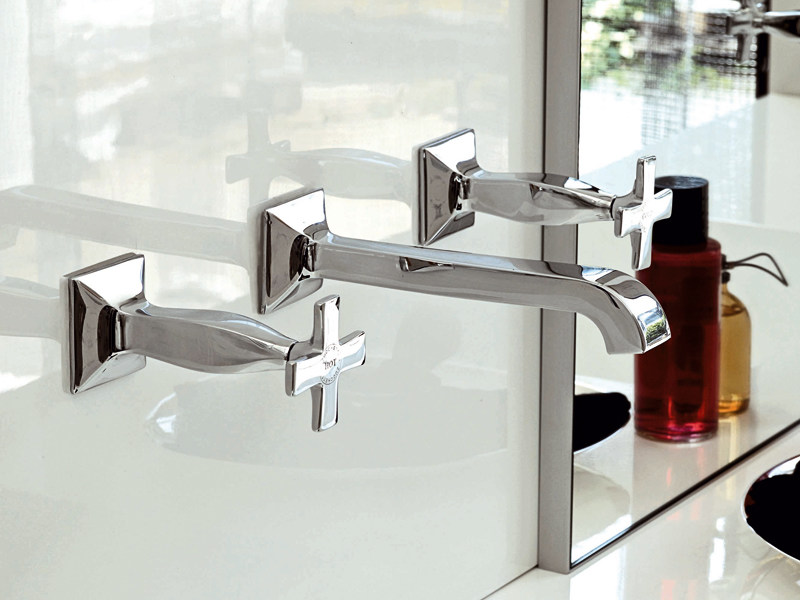 3 hole wall-mounted chrome-plated washbasin tap BELLAGIO | Wall-mounted washbasin tap by ZUCCHETTI