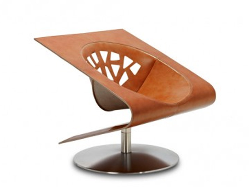 Tanned leather armchair ASCOT JR-9380 by JORI