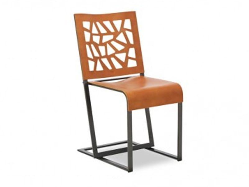 Cadeira trenó de couro EPSOM by JORI