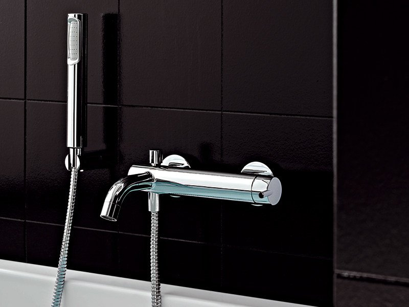 Wall-mounted bathtub mixer with hand shower SIMPLY BEAUTIFUL | Bathtub mixer by ZUCCHETTI