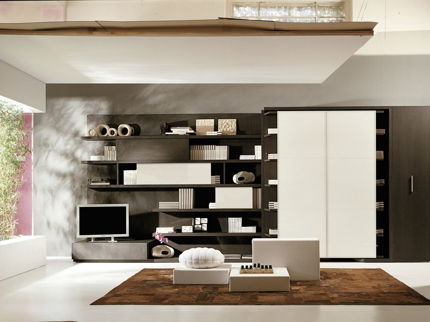 Storage wall with fold-away bed LGM 02 by CLEI