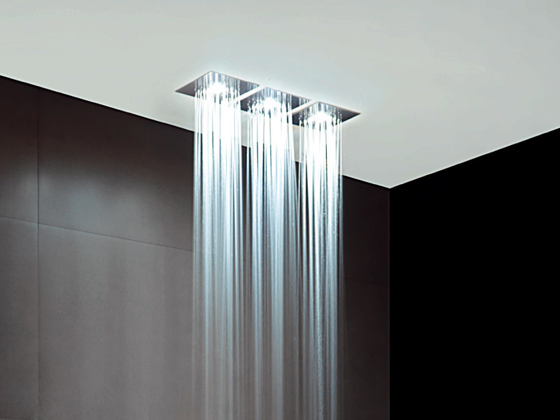 Ceiling mounted stainless steel overhead shower with built-in lights Z94155   Overhead shower by ZUCCHETTI