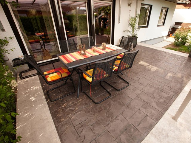 Concrete outdoor floor tiles STAMPED CONCRETE by IDEAL WORK