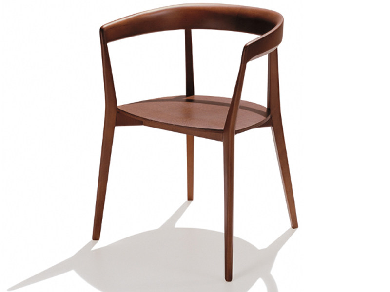 Wooden chair with armrests CAROLA | Chair with armrests by Andreu World