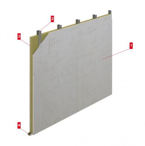 Fireproof panel for interior partition Tecbor 10+10/70/10+10 MW by LINK industries