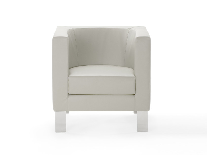 Upholstered leather armchair with armrests BAY | Armchair by ROSSIN