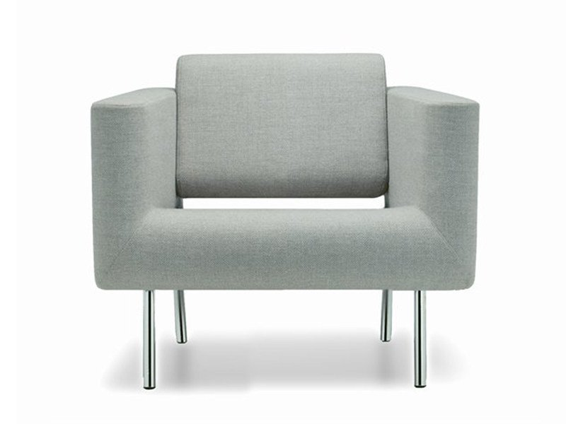 Upholstered armchair with armrests ORBIS | Armchair by ROSSIN