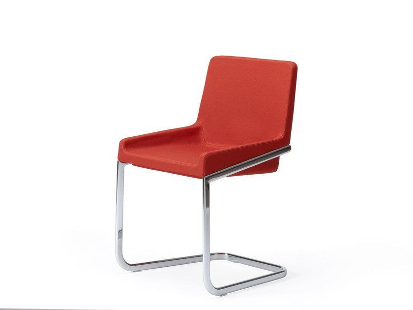 Cantilever upholstered chair TONIC METAL | Cantilever chair by ROSSIN
