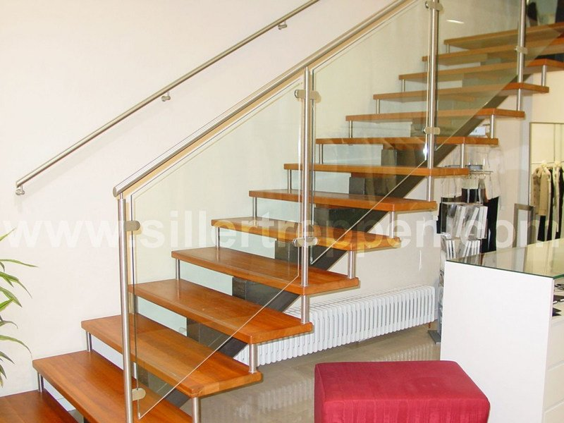 Self supporting stainless steel and wood Open staircase CLASSIC | Open staircase by Siller Treppen