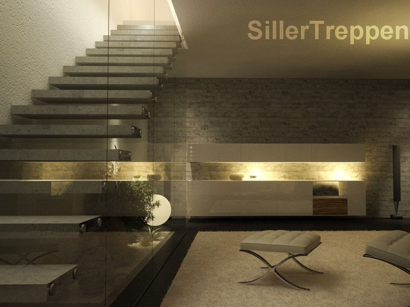 Cement Open staircase CONCRETE STAIRS by Siller Treppen