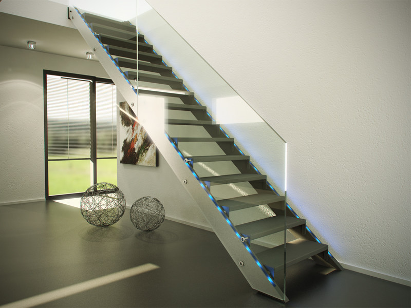 Wood and glass Open staircase FUTURE by Siller Treppen