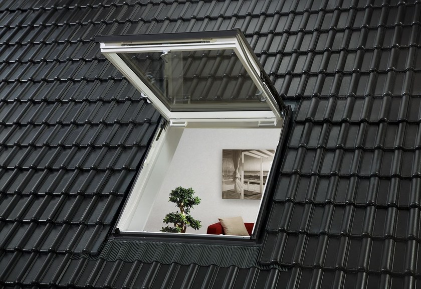 Top hung manually operated roof window velux linea vita for Libreria velux
