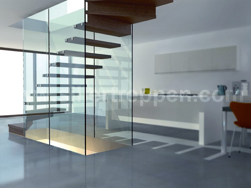 Self supporting wood and glass Open staircase MISTRAL STRUCTURAL GLASS WALLS by Siller Treppen