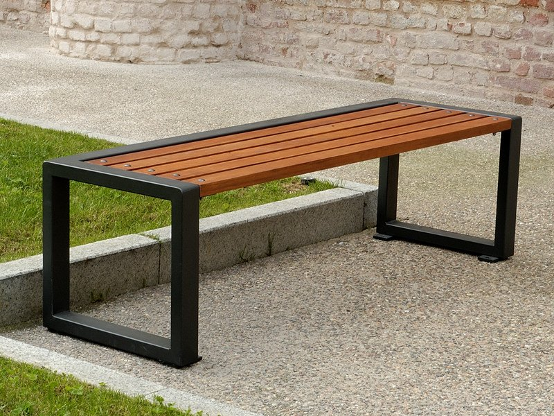 Outstanding Backless Steel And Wood Bench Titta Line By A U Esse Gmtry Best Dining Table And Chair Ideas Images Gmtryco