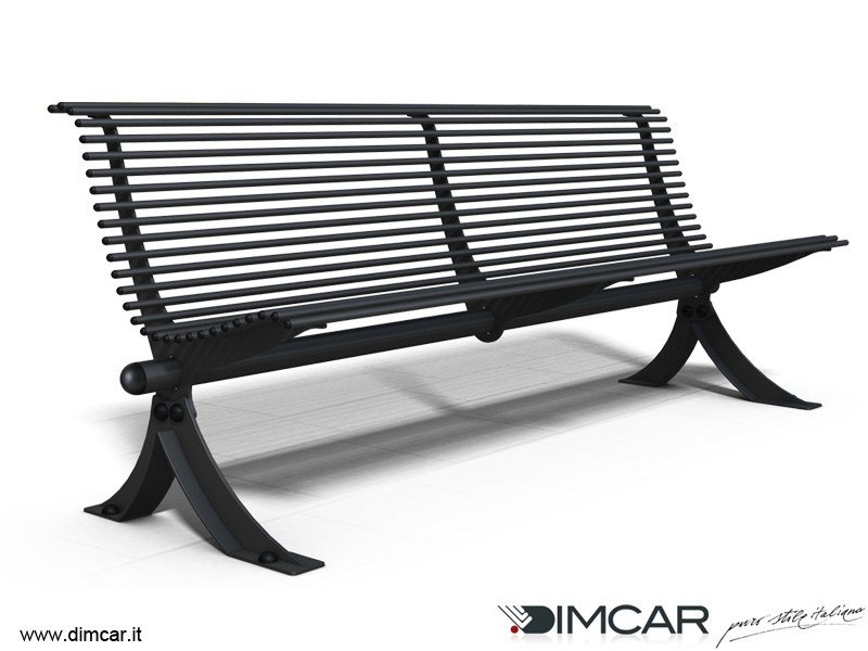 Contemporary style metal Bench with back Panchina Vera by DIMCAR
