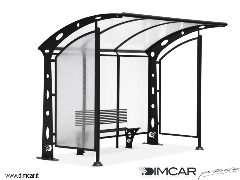 Porch for bus stop Pensilina Acaya con pareti laterali by DIMCAR