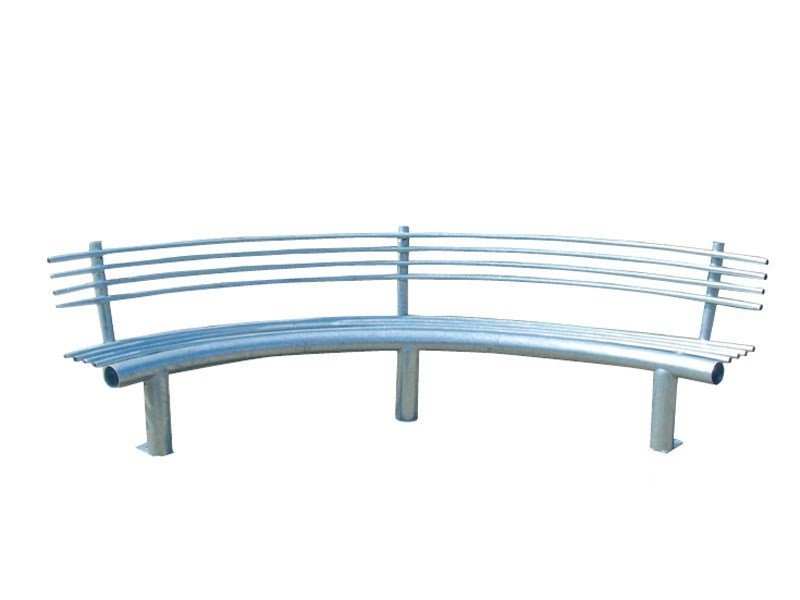 Curved metal Bench with back CURVA by Lazzari