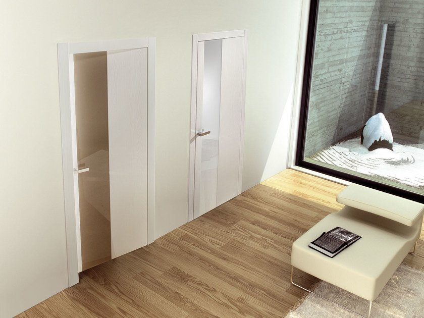 Hinged lacquered wooden door MEKONG by Ghizzi & Benatti