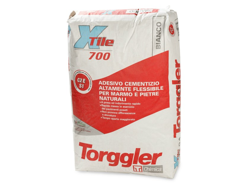 Cement adhesive for flooring X-TILE 700 by Torggler Chimica