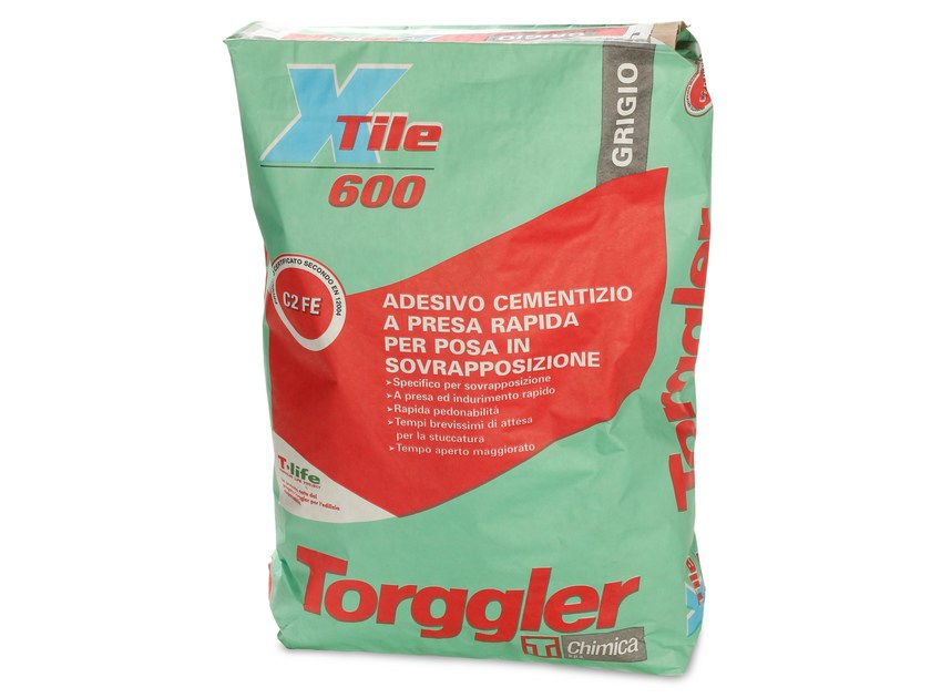 Cement adhesive for flooring X-TILE 600 by Torggler Chimica