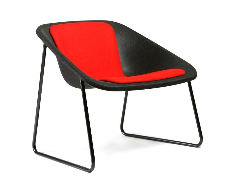 Sled base polyester easy chair KOLA | Sled base easy chair by Inno