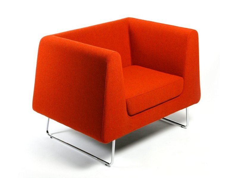 Sled base upholstered armchair JARMAN | Armchair by Inno