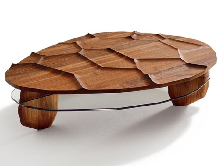 Solid wood coffee table ROCK & ROLL by TEAM 7