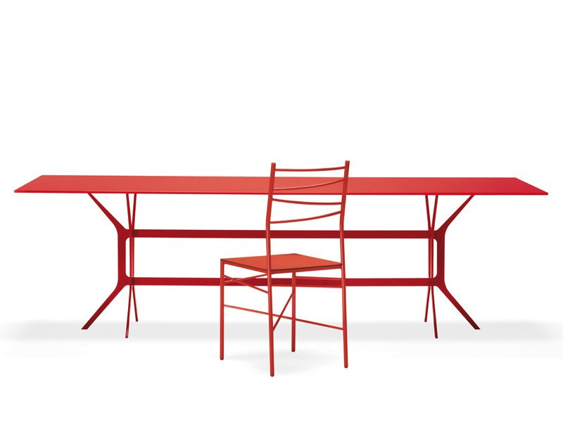Lacquered rectangular metal table ARABESQUE | Rectangular table by YDF